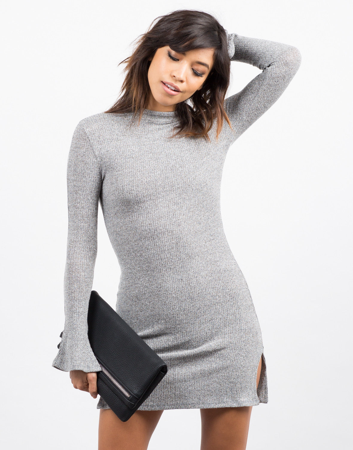 Front View of Bell Sleeve Ribbed Dress