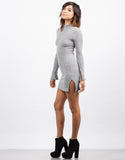 Side View of Bell Sleeve Ribbed Dress