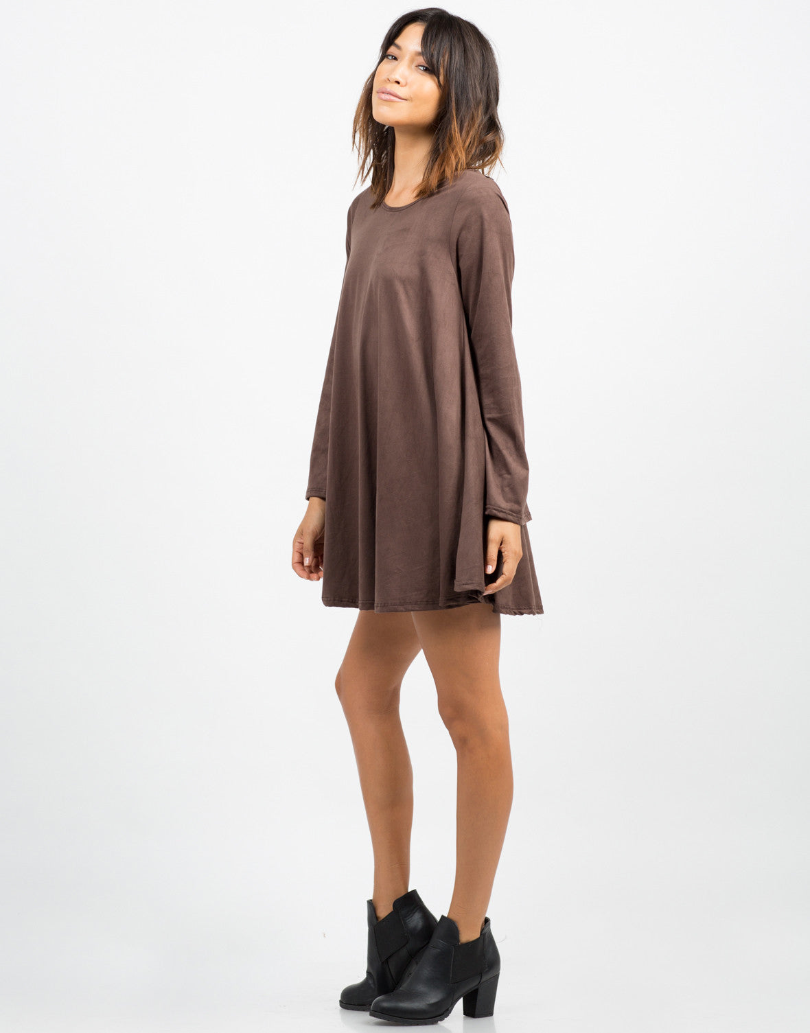 Side View of Bell Sleeve Suede Dress
