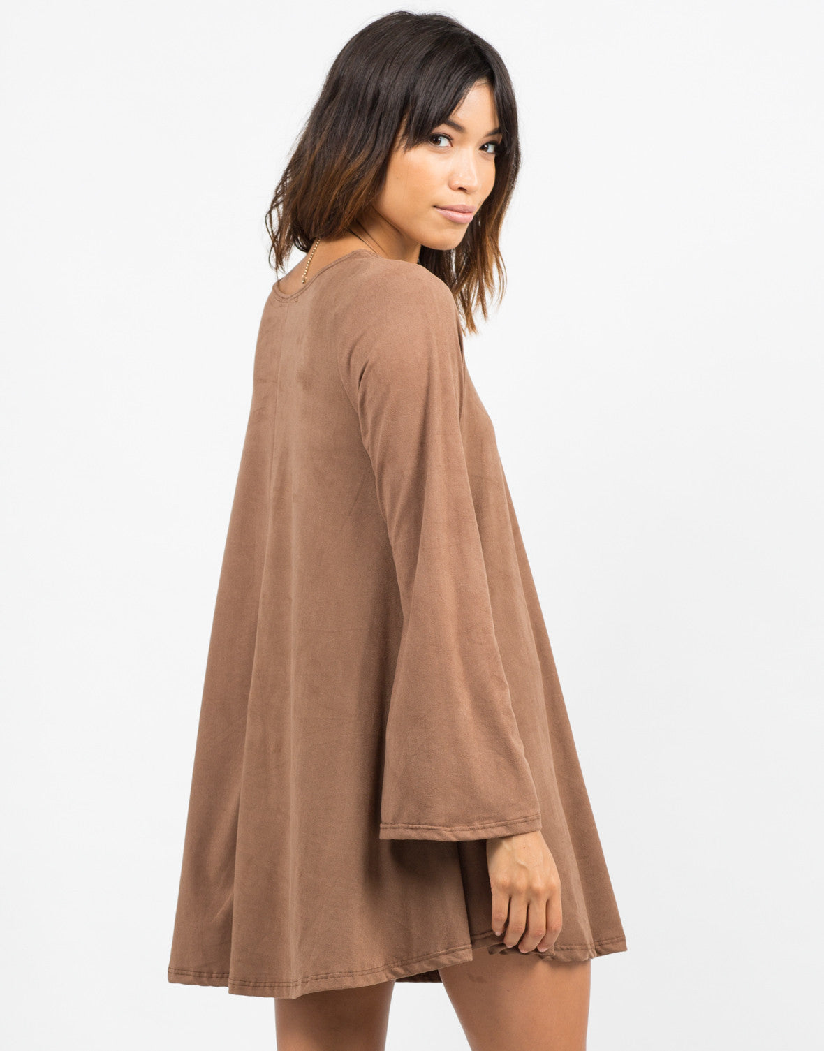 Back View of Bell Sleeve Suede Dress