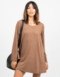 Front View of Bell Sleeve Suede Dress