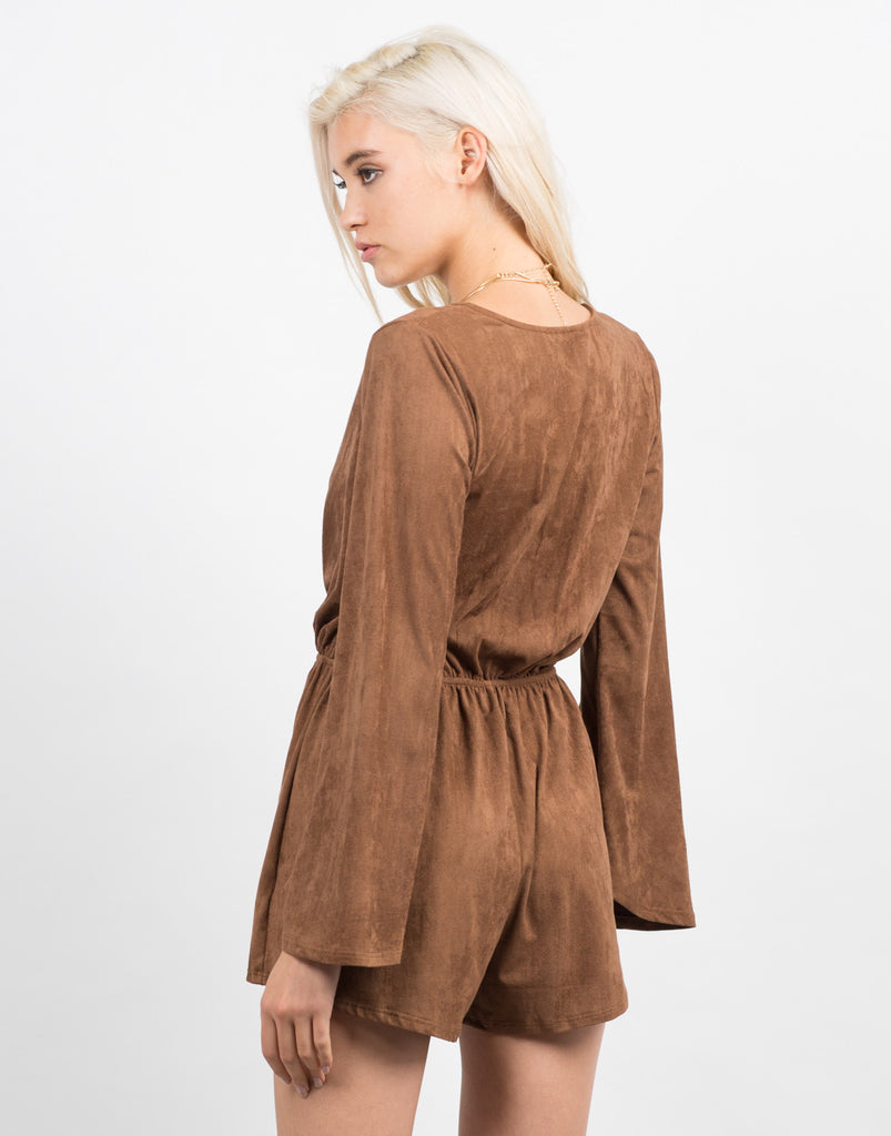 Back View of Bell Sleeve Suede Romper