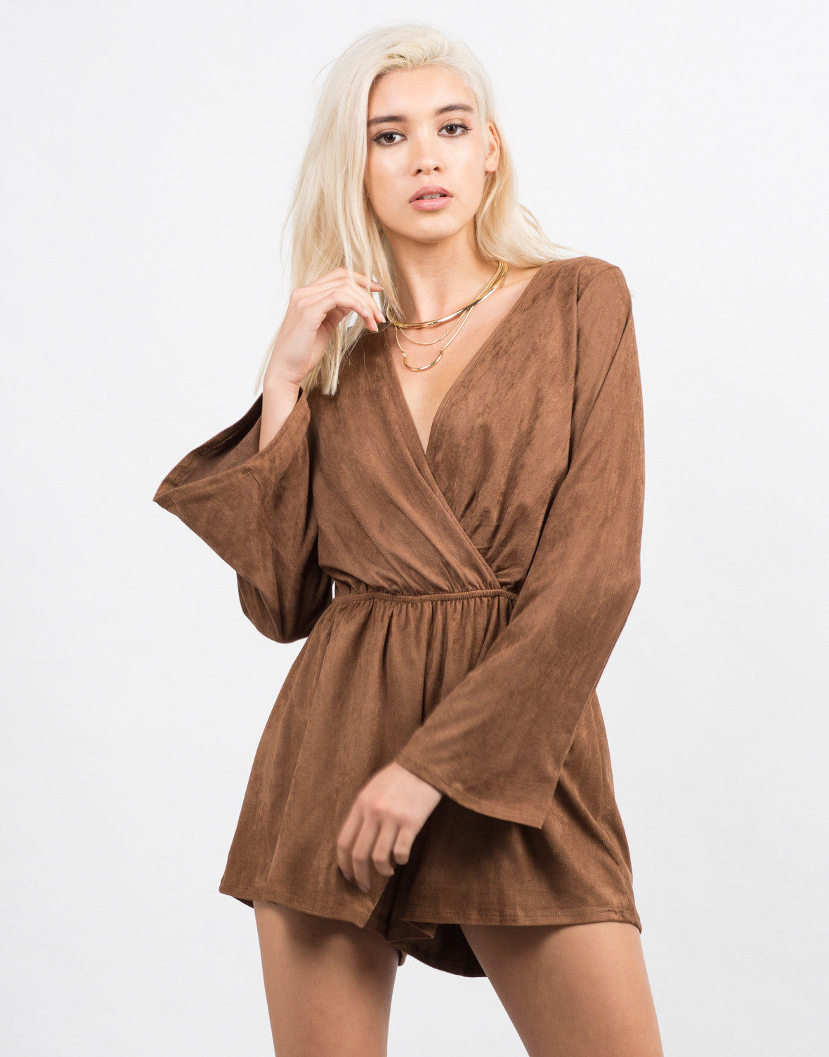 Front View of Bell Sleeve Suede Romper