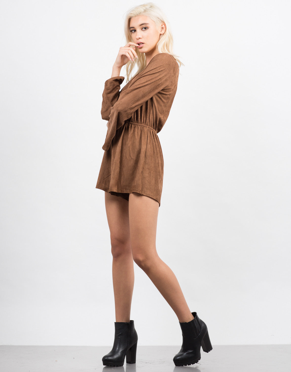 Side View of Bell Sleeve Suede Romper