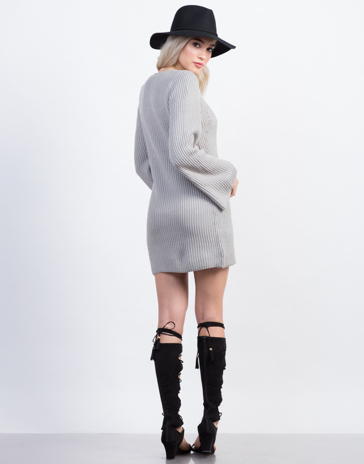 Back View of Bell Sleeve Sweater Dress
