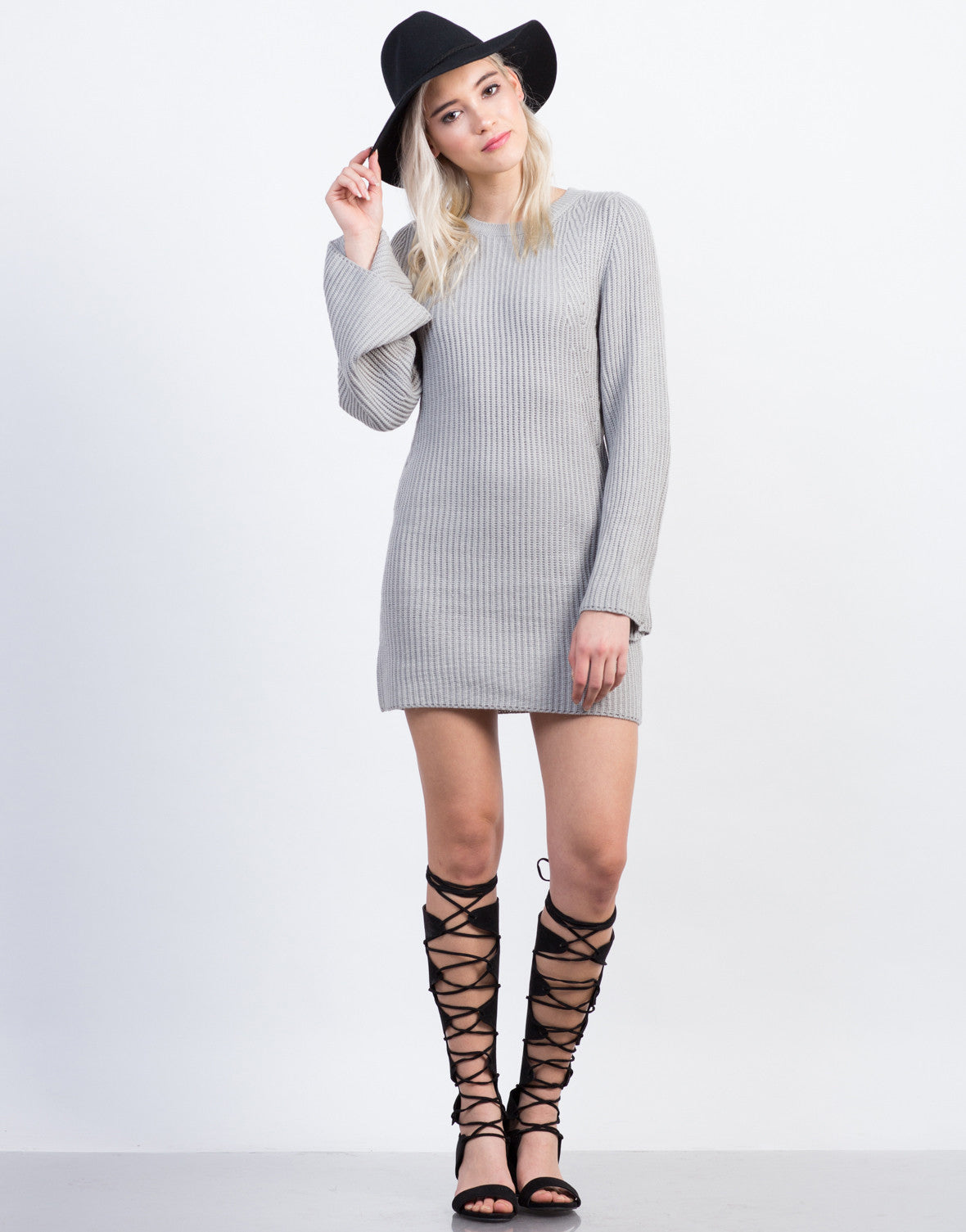 Front View of Bell Sleeve Sweater Dress