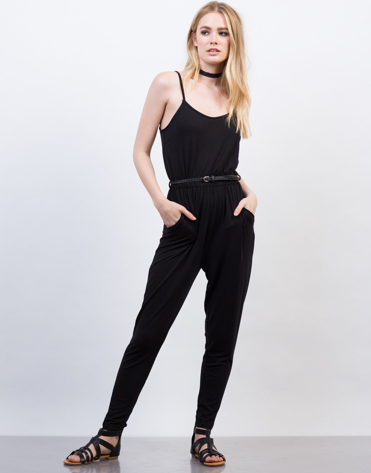 Front View of Belted Cami Jumpsuit