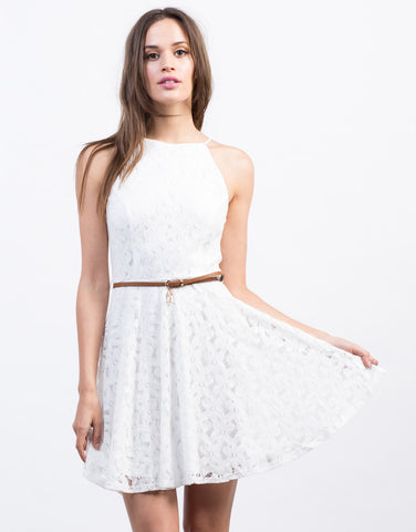 Front View of Belted Flared Lace Dress