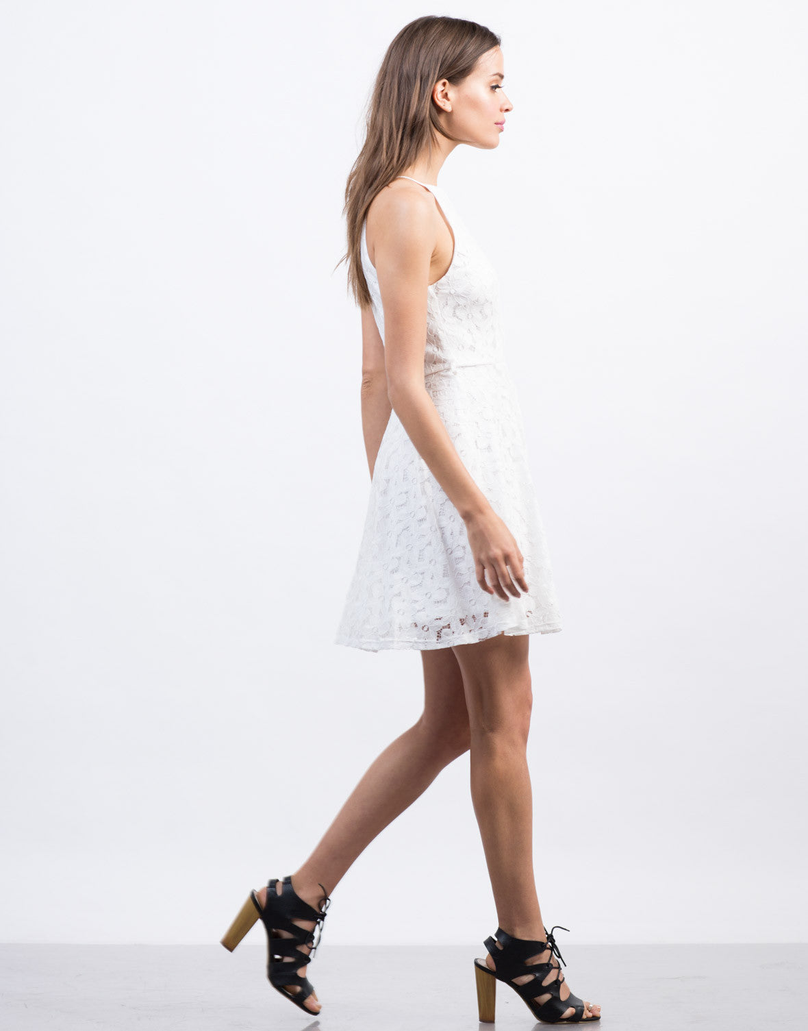 Side View of Belted Flared Lace Dress