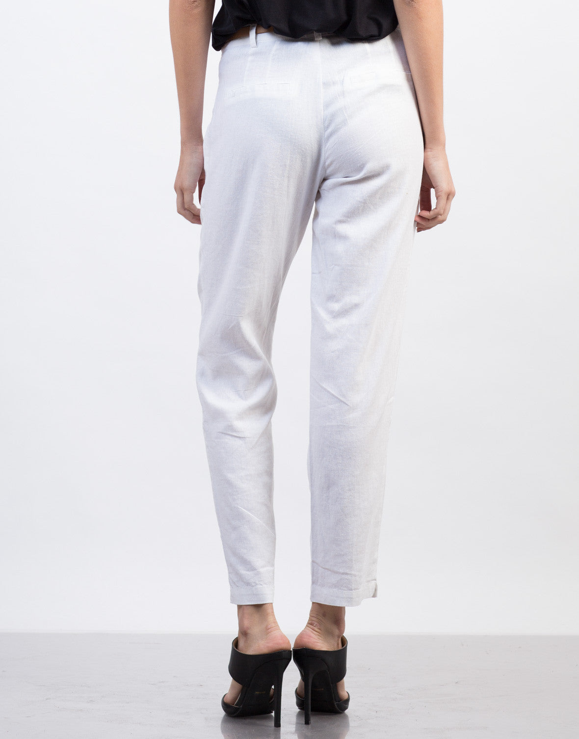 Back View of Belted Linen Pants