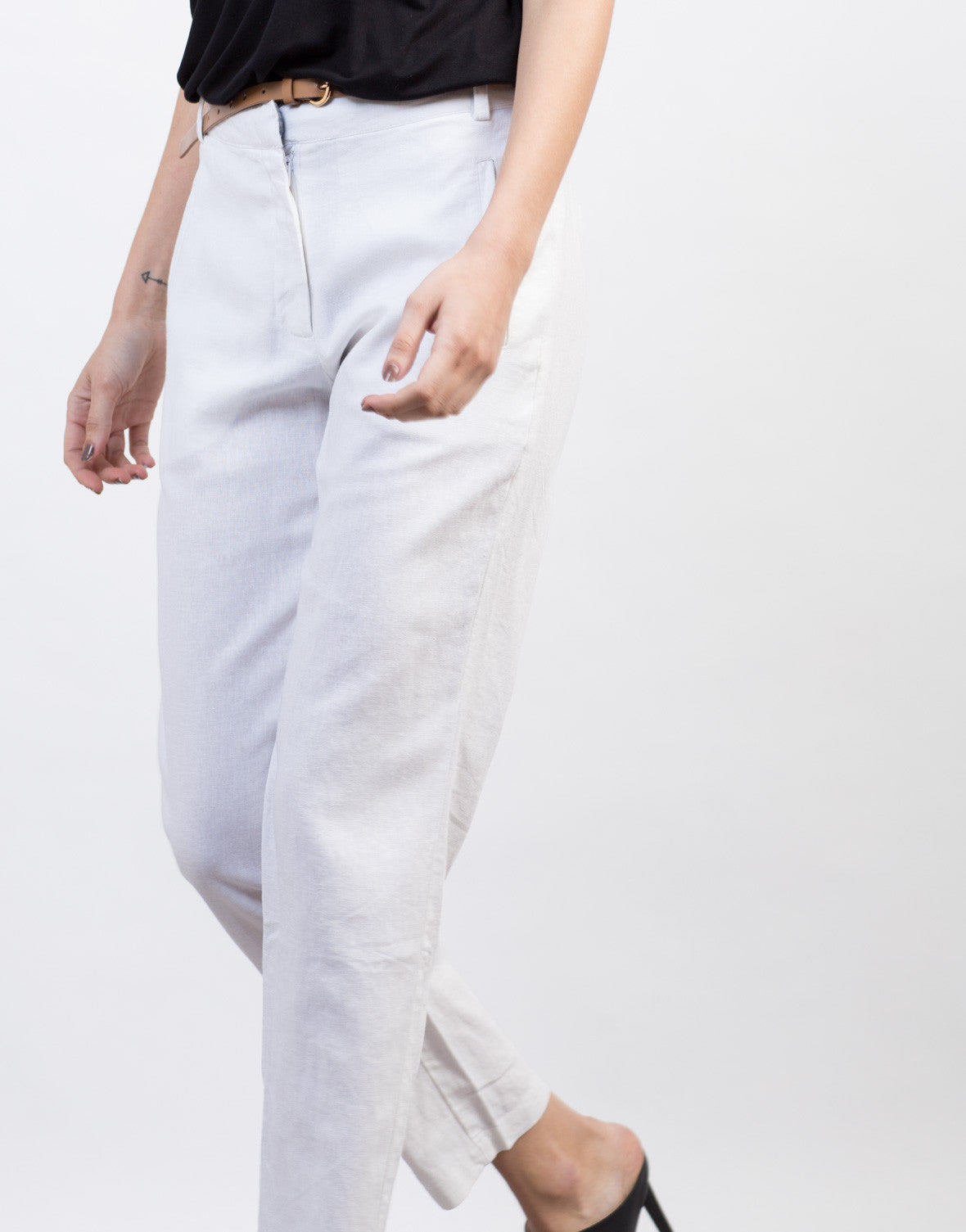 Detail of Belted Linen Pants
