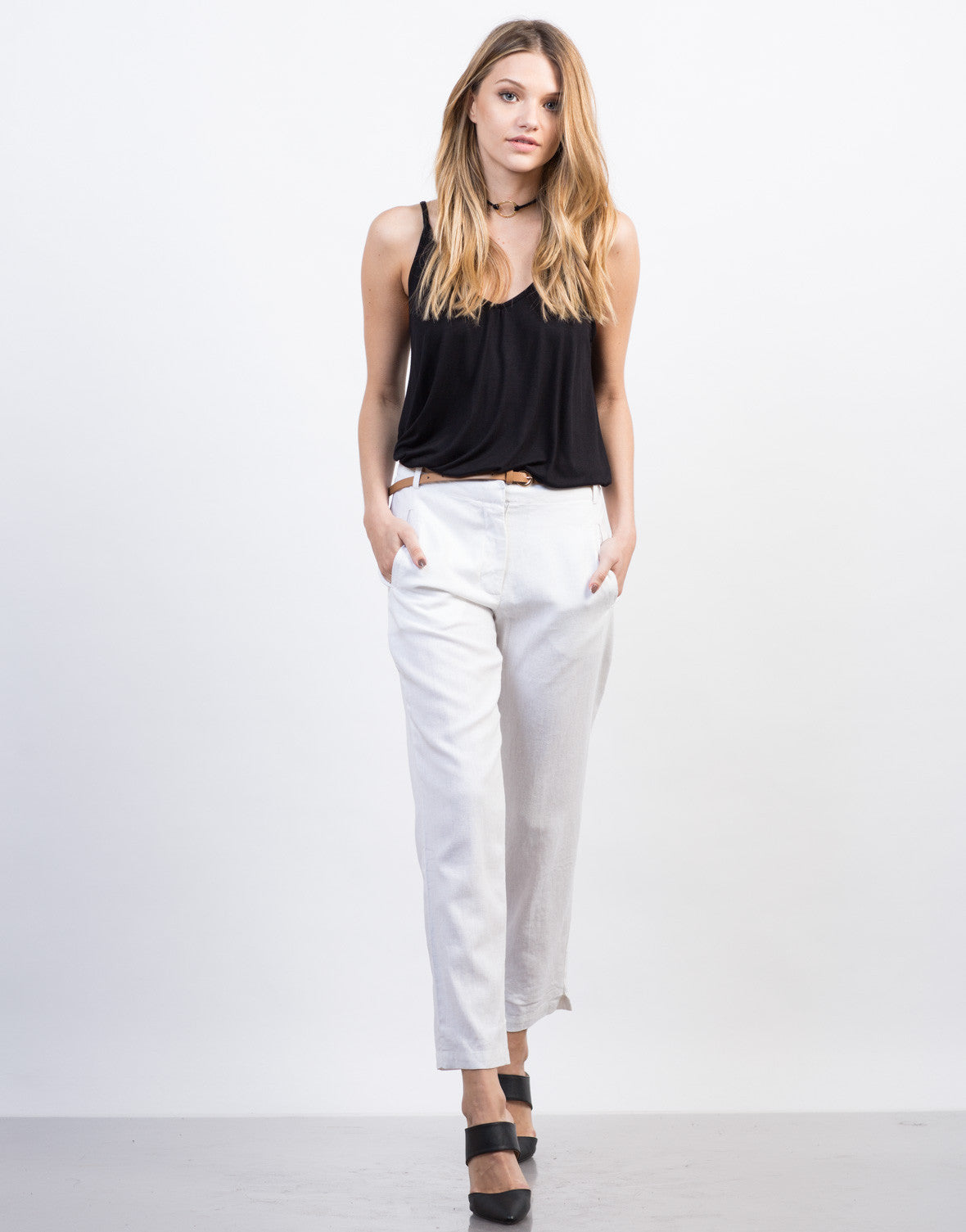 Front View of Belted Linen Pants