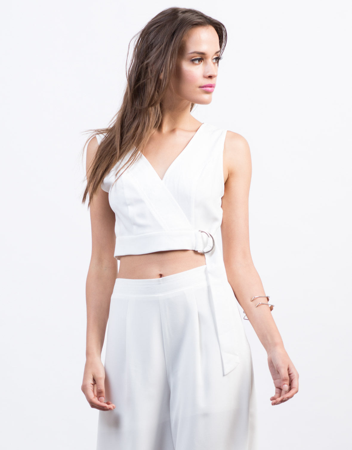 Front View of Belted Woven Crop Top