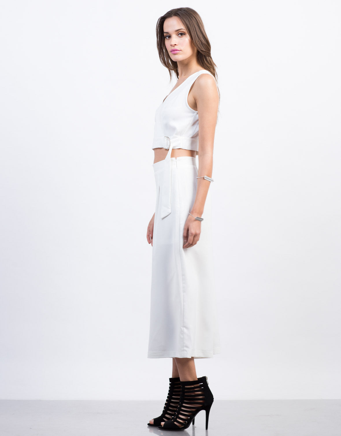 Side View of Belted Woven Crop Top