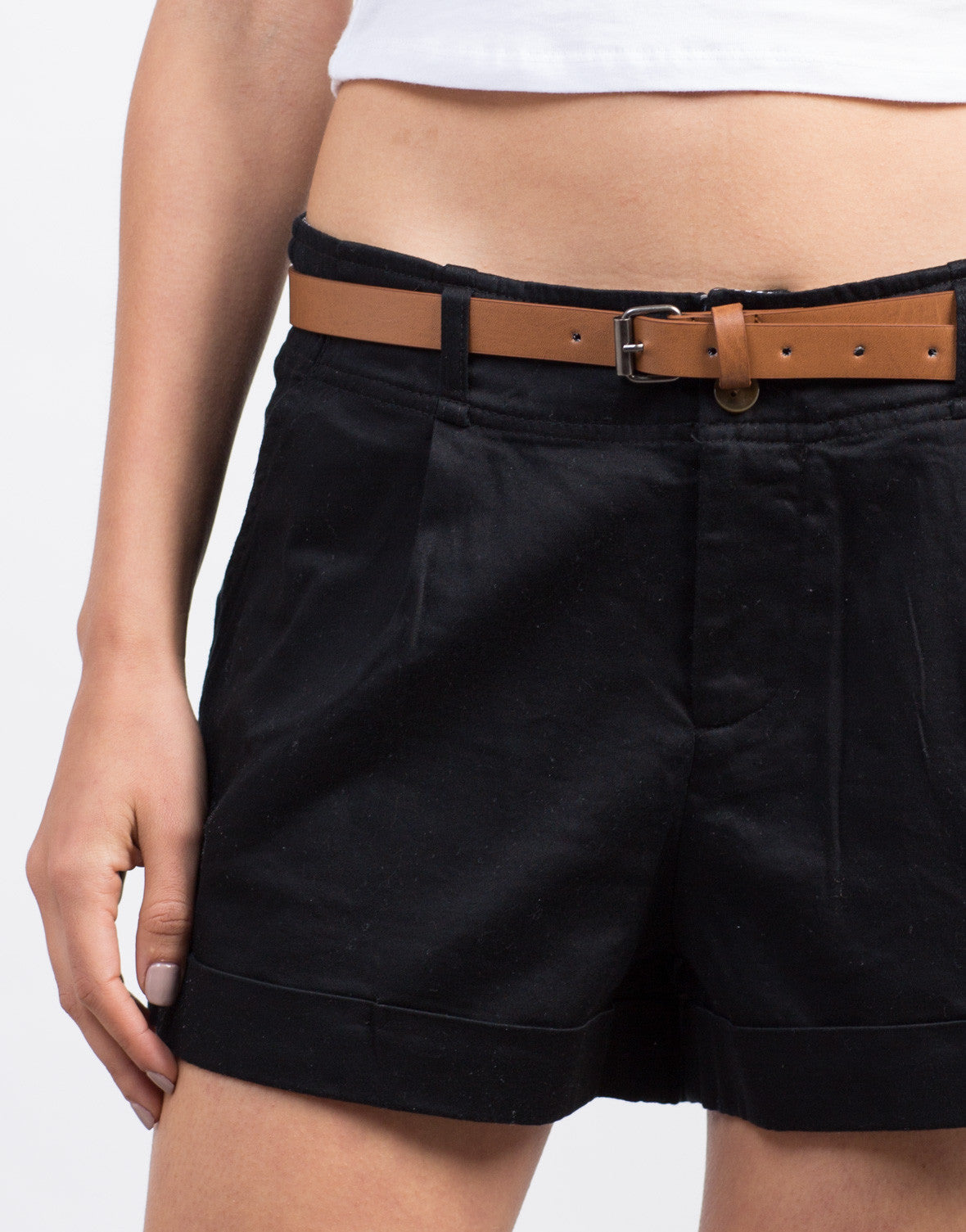 Detail of Belted Woven Shorts