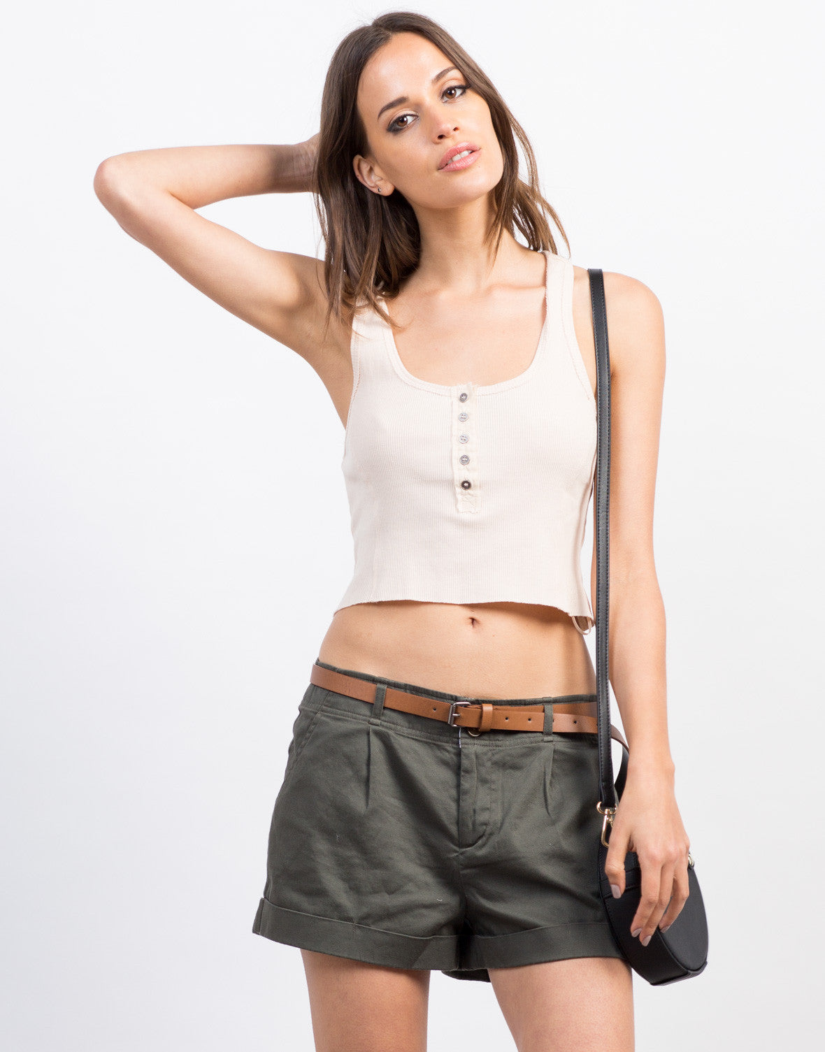 Front View of Belted Woven Shorts