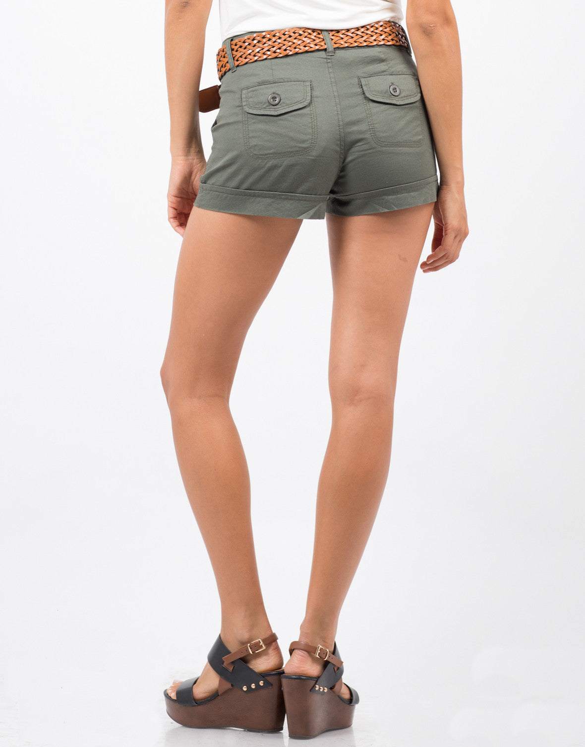 Back View of Belted Cargo Shorts