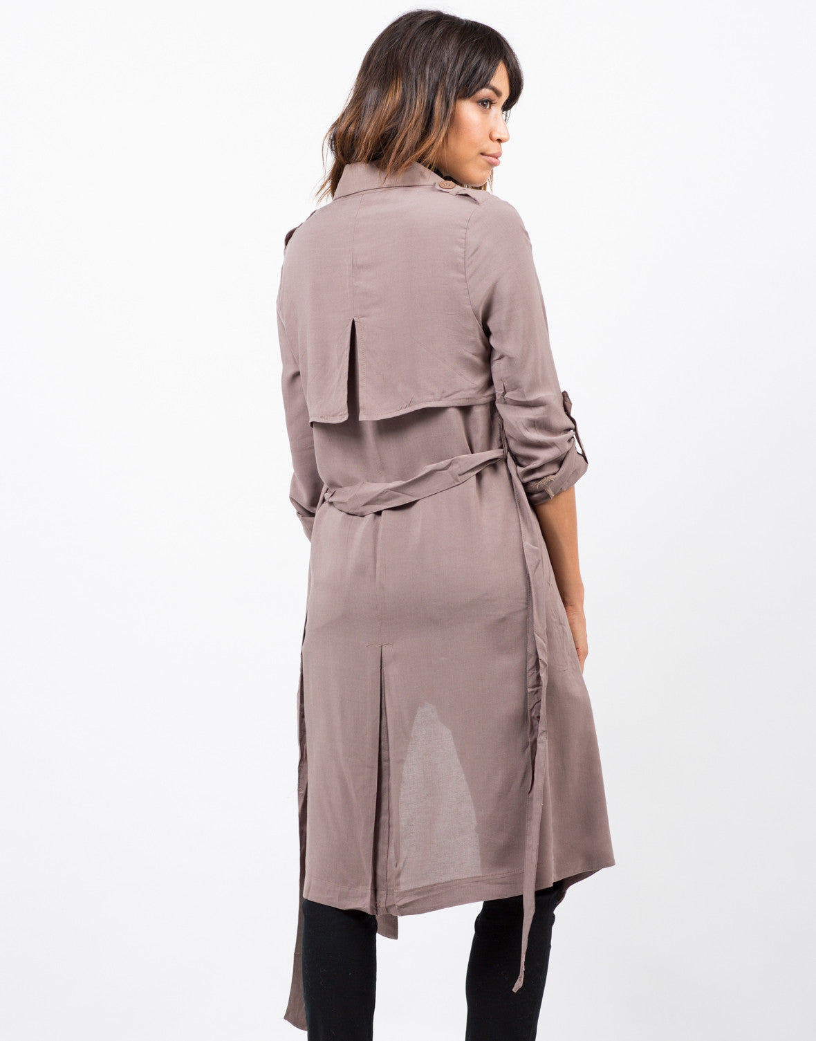 Back View of Belted Crepe Trench Jacket