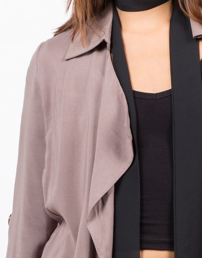 Detail of Belted Crepe Trench Jacket
