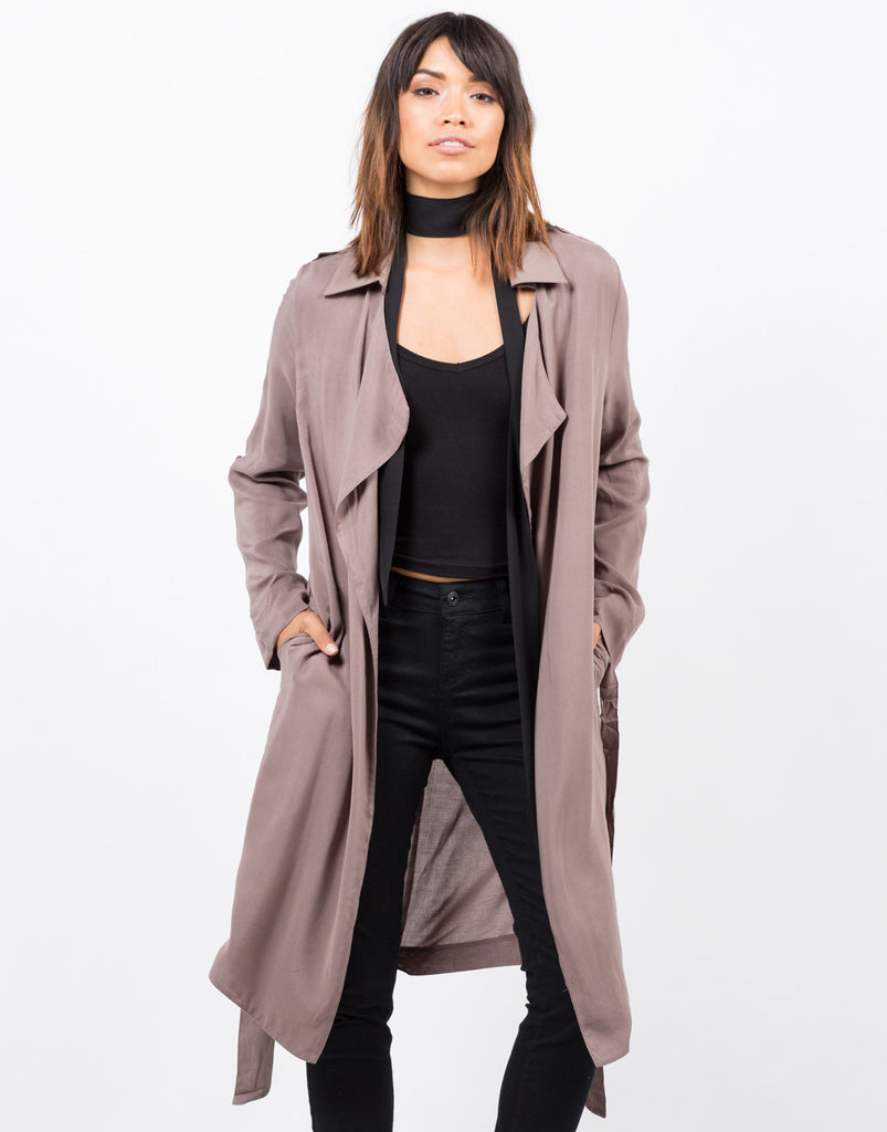 Front View of Belted Crepe Trench Jacket