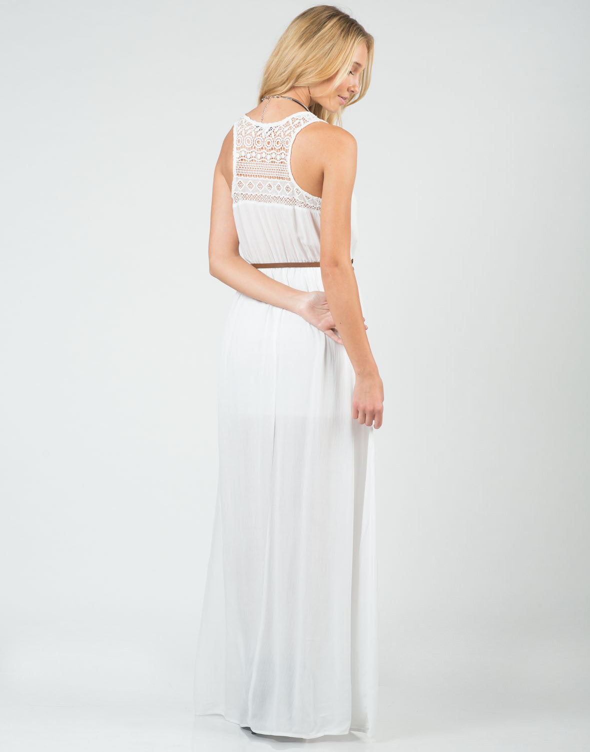 Back View of Belted Crochet Maxi Dress