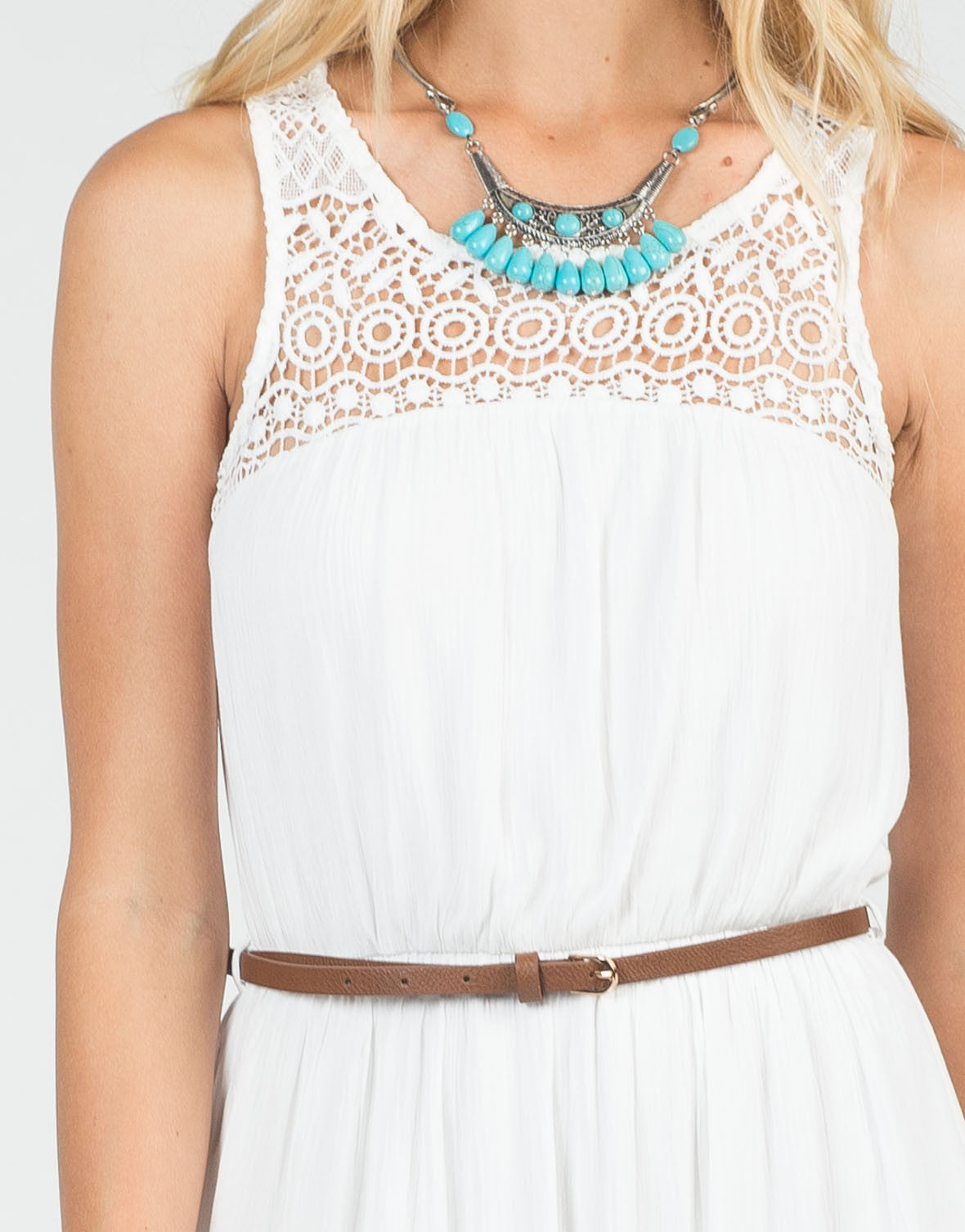 Detail of Belted Crochet Maxi Dress
