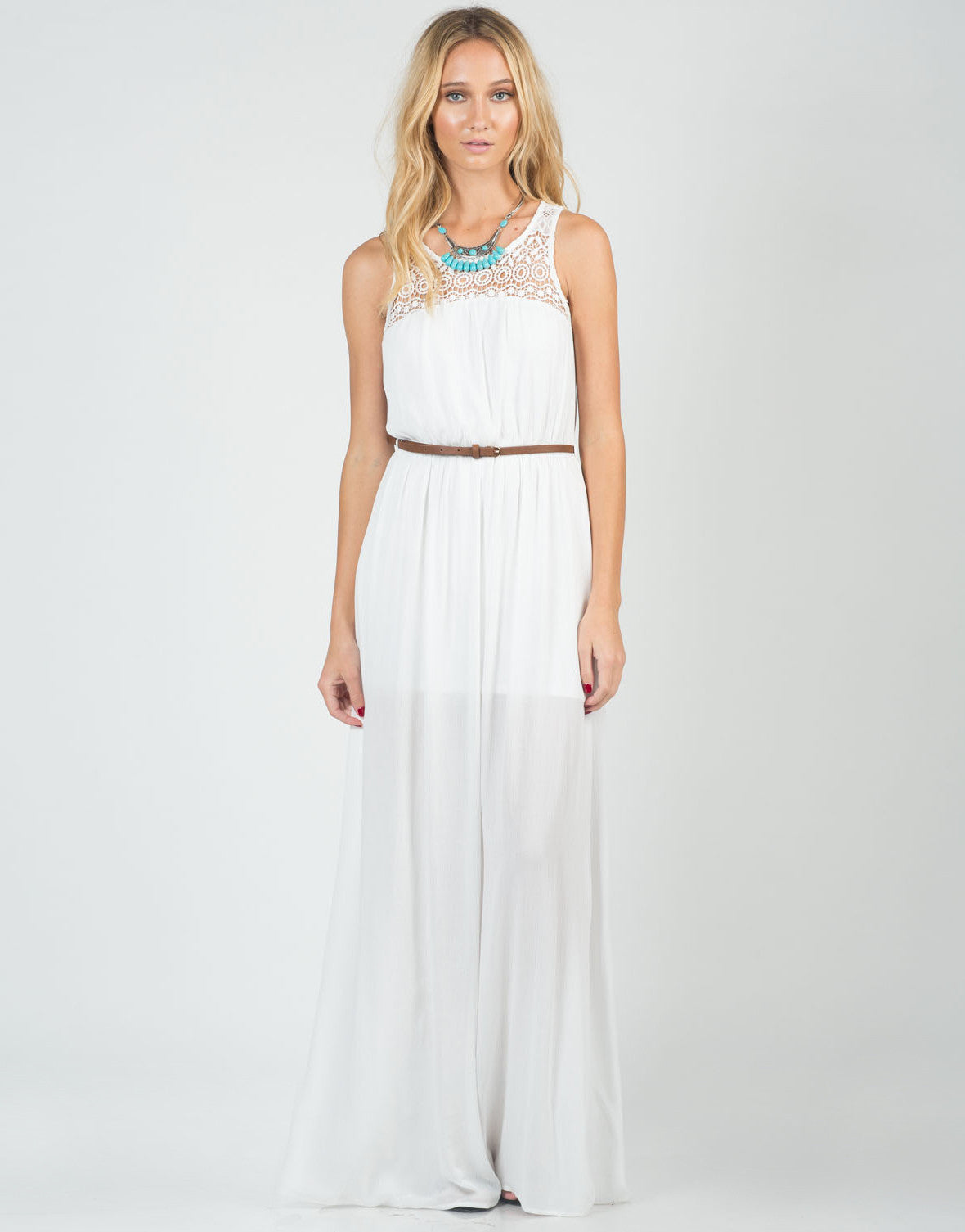 Front View of Belted Crochet Maxi Dress
