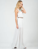 Side View of Belted Crochet Maxi Dress