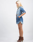 Side View of Belted Denim Button Up Dress