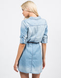 Back View of Belted Denim Button Up Dress