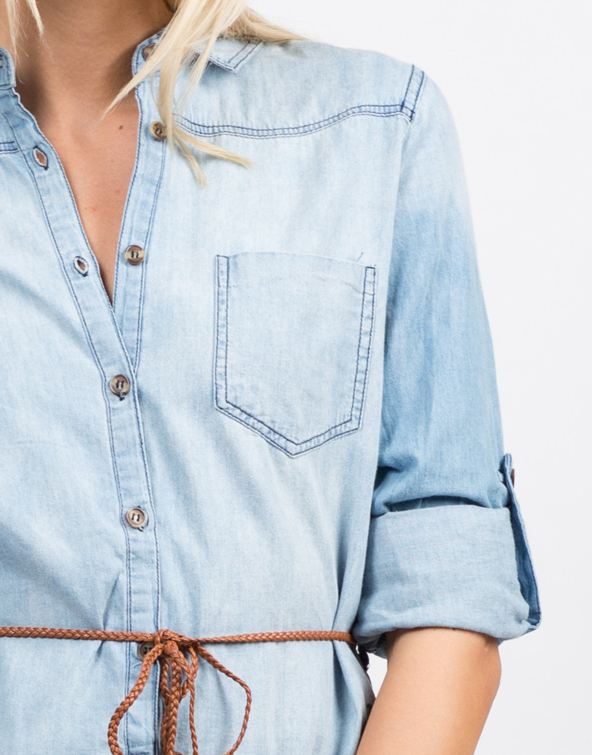 Belted Denim Button Up Dress