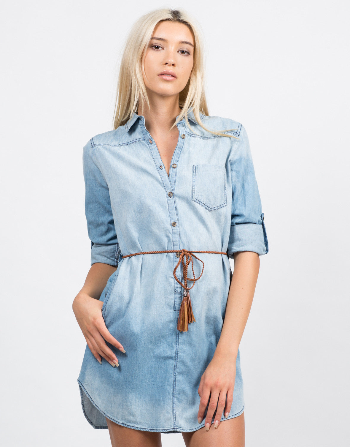 Front View of Belted Denim Button Up Dress