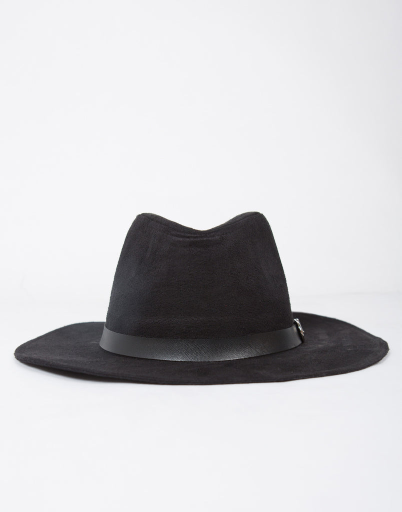 Belted Fedora Suede Hat