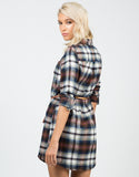 Back View of Belted Flannel Dress