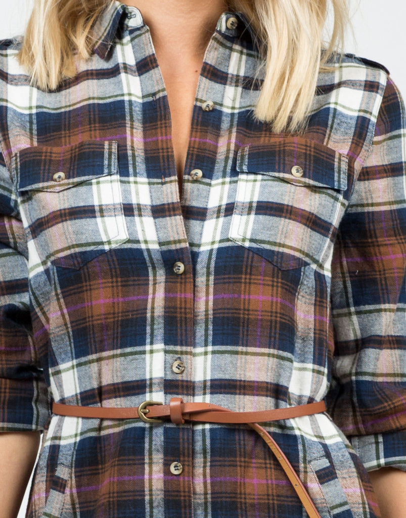 Detail of Belted Flannel Dress