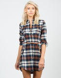 Front View of Belted Flannel Dress
