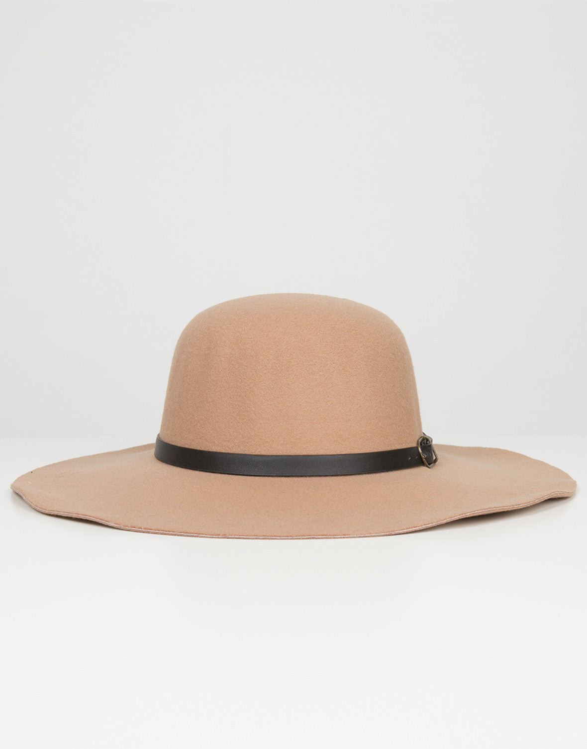 Front View of Belted Floppy Hat
