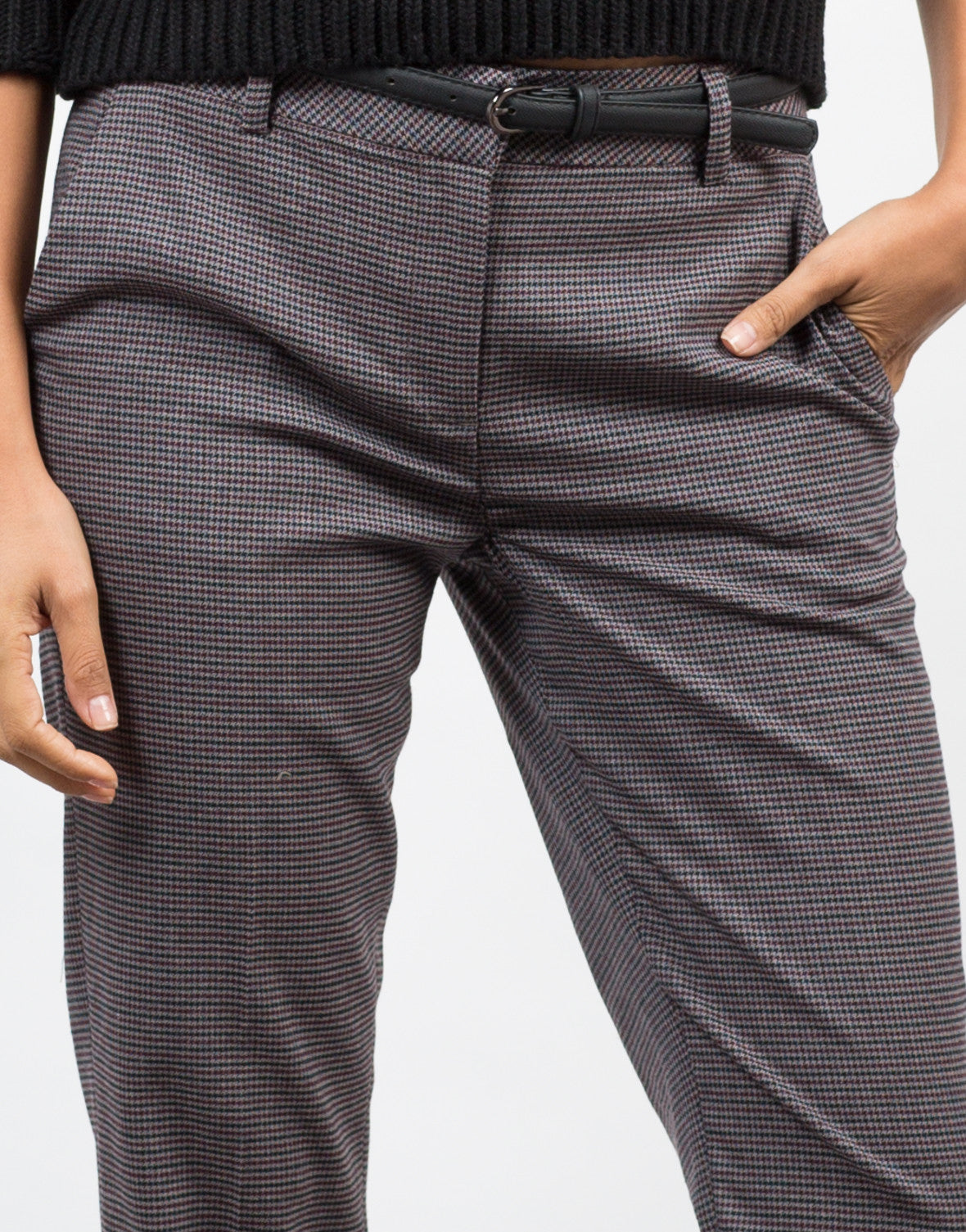 Detail of Belted Houndstooth Pants