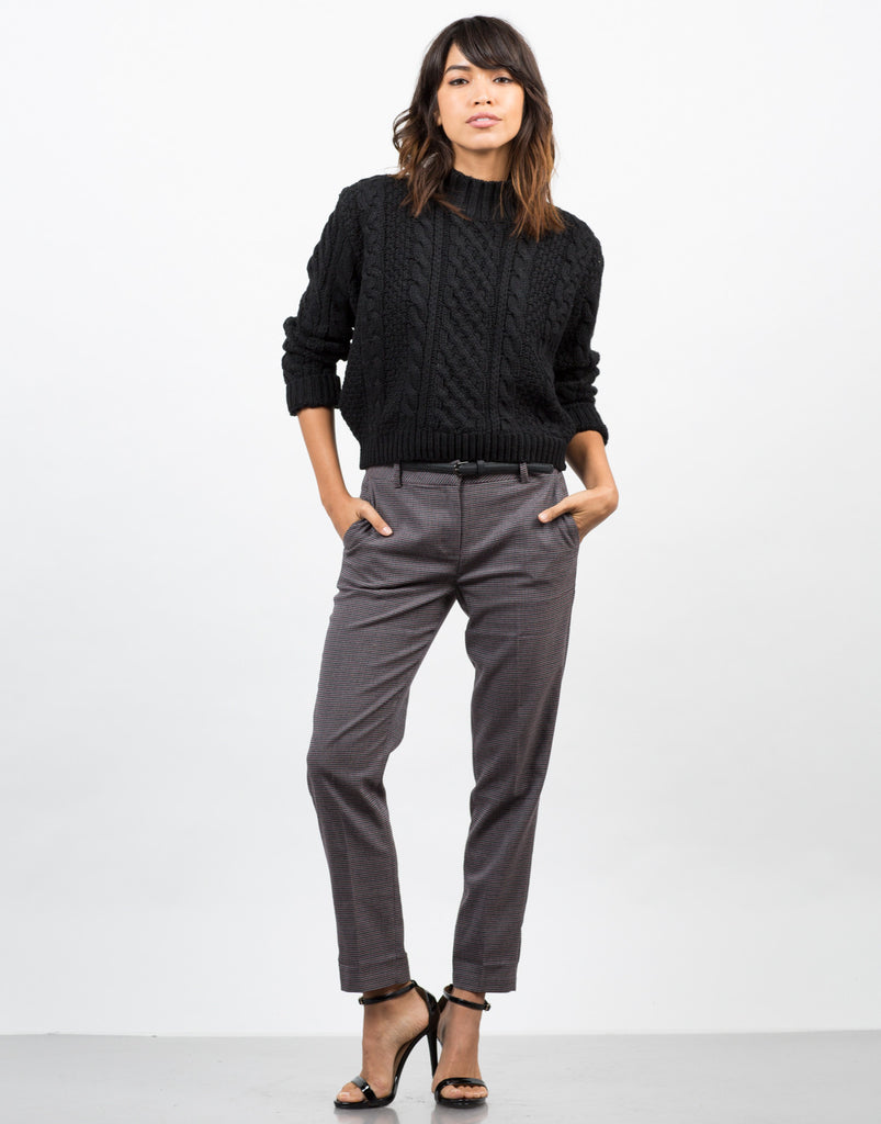 Front View of Belted Houndstooth Pants