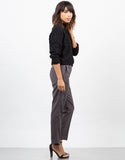 Side View of Belted Houndstooth Pants