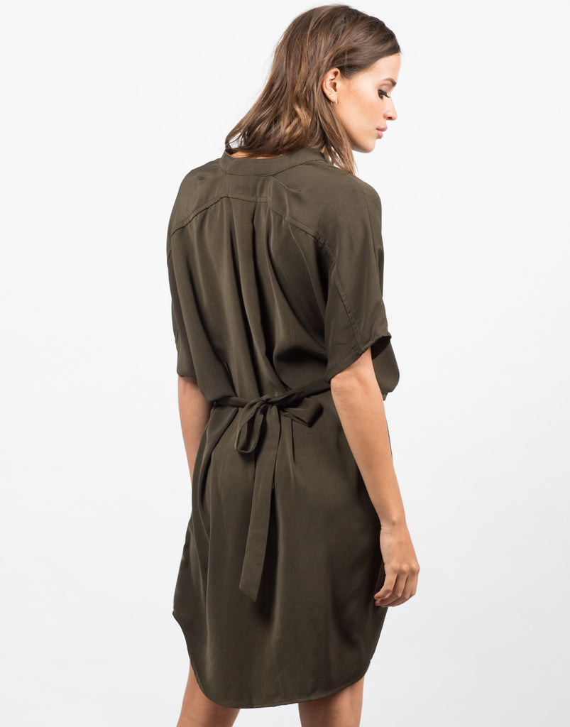 Back View of Belted Kimono Dress
