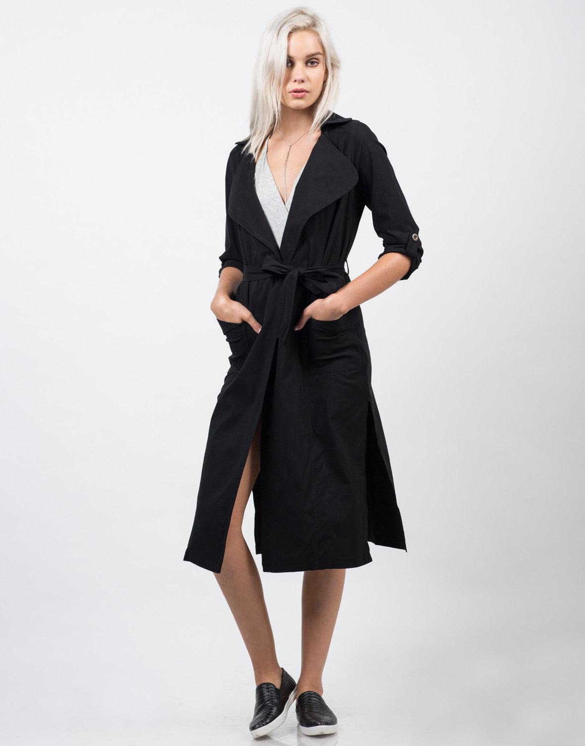 Front View of Belted Long Trench Coat