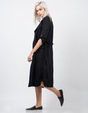 Side View of Belted Long Trench Coat