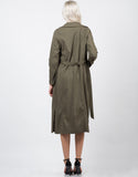 Back View of Belted Long Trench Coat