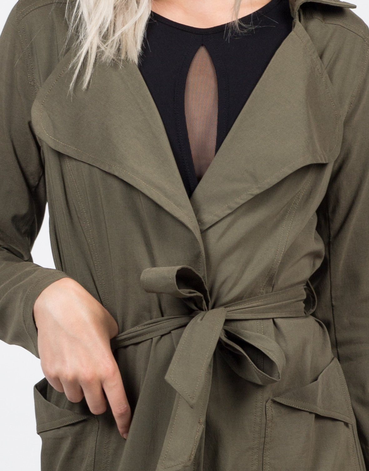 Detail of Belted Long Trench Coat
