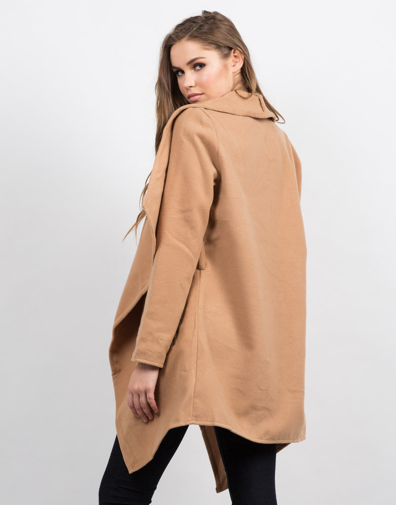 Back View of Belted Shawl Collar Coat