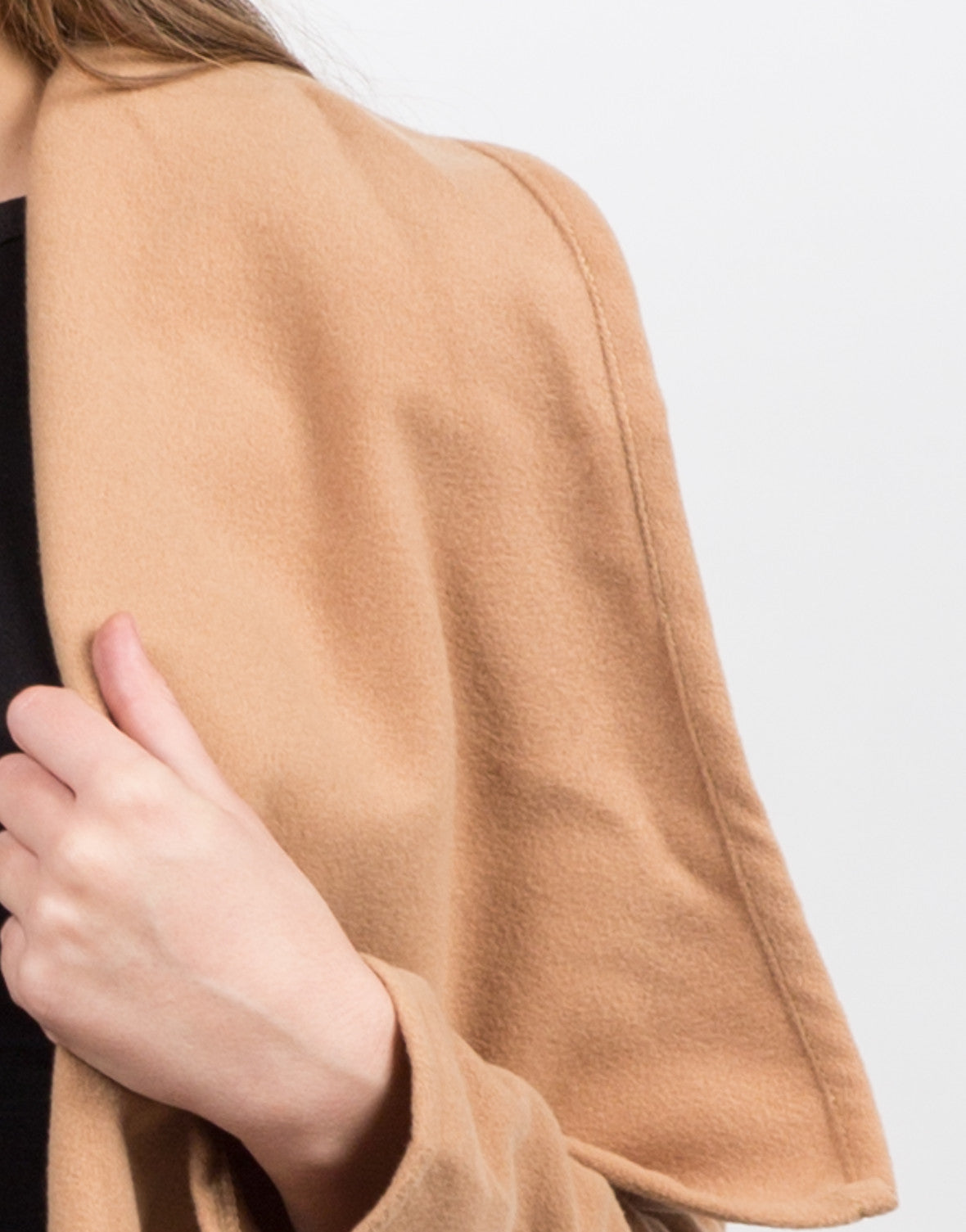Detail of Belted Shawl Collar Coat