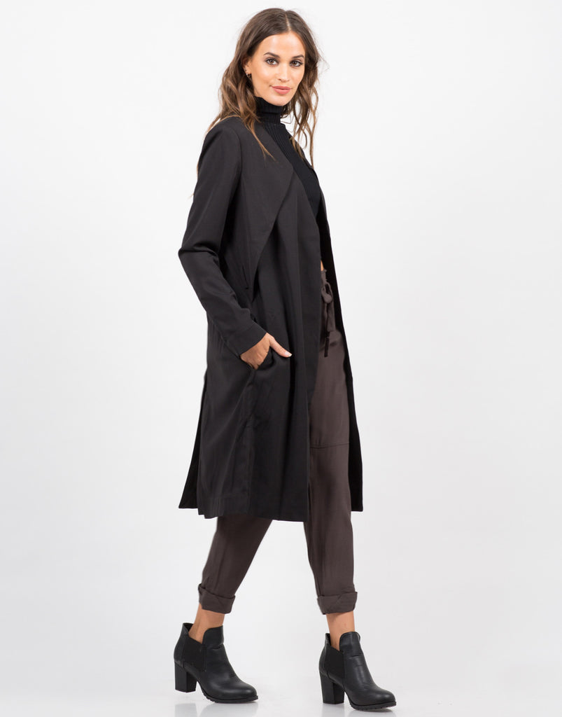 Side View of Belted Trench Coat