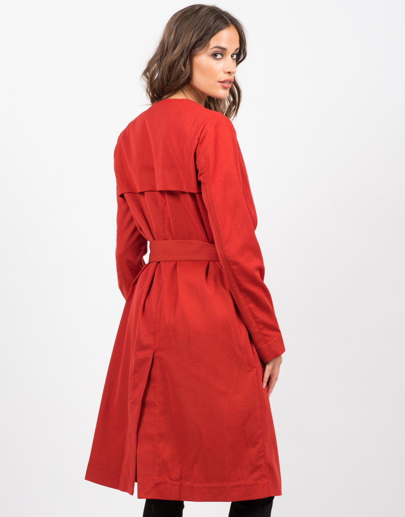 Back View of Belted Trench Coat
