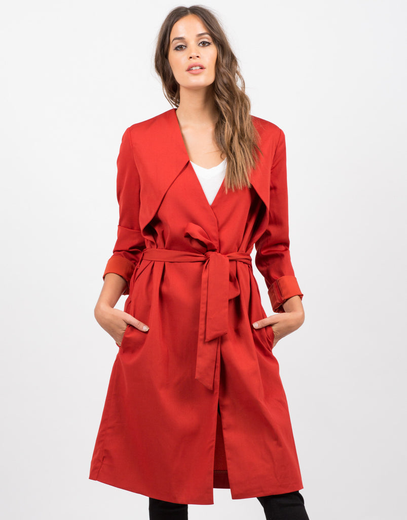 Front View of Belted Trench Coat
